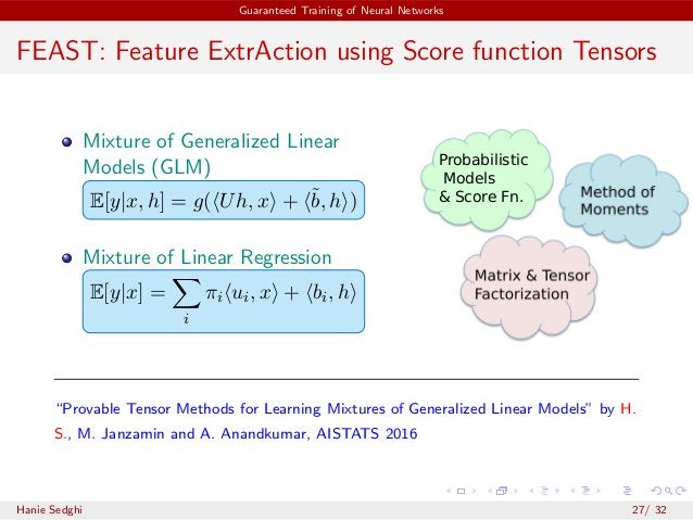 Guaranteed Training of Neural Networks FEAST: Feature ExtrAction using Score function Tensors Mixture of Generalized Linea...
