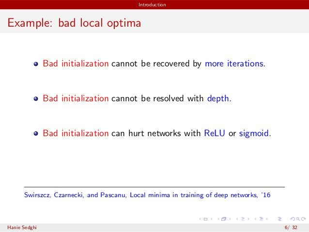 Introduction Example: bad local optima Bad initialization cannot be recovered by more iterations. Bad initialization canno...