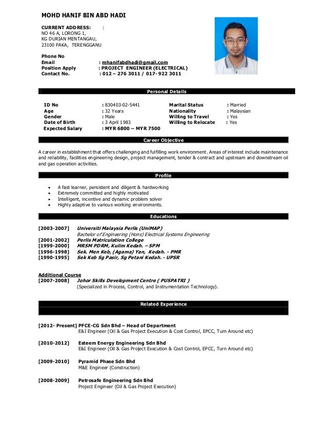 Hanif Cv 2015 Project Engineer Electrical