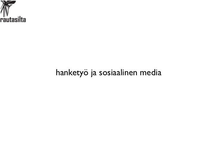 hanketyö ja sosiaalinen media
