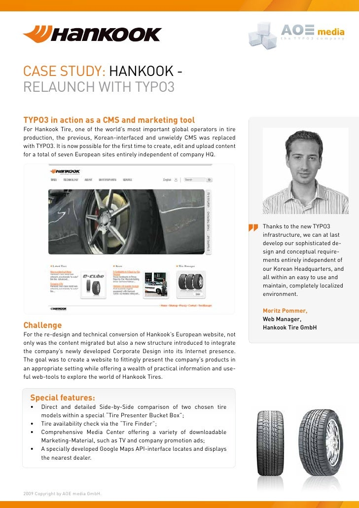 Case study: HaNKOOK - RelauNCH WItH tyPO3  TYPO3 in action as a CMS and marketing tool For Hankook tire, one of the world'...