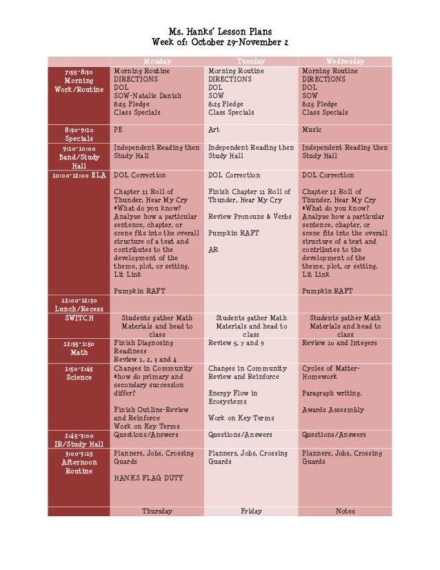 Ms. Hanks' Lesson Plans                              Week of: October 29-November 2                           Monday      ...