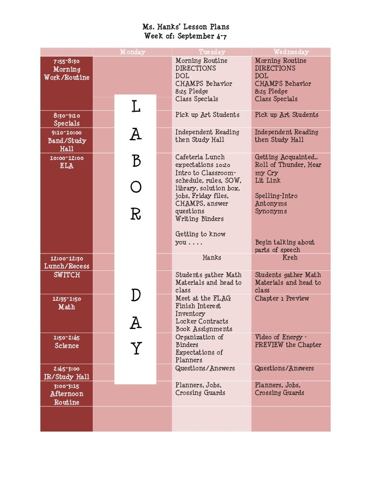 Ms. Hanks' Lesson Plans                      Week of: September 4-7                Monday                Tuesday          ...