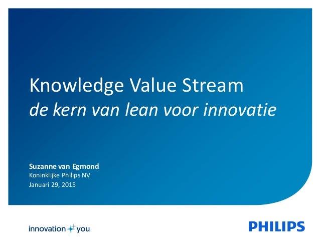 Suzanne van Egmond Koninklijke Philips NV Januari 29, 2015 Knowledge Value Stream de kern van lean voor innovatie