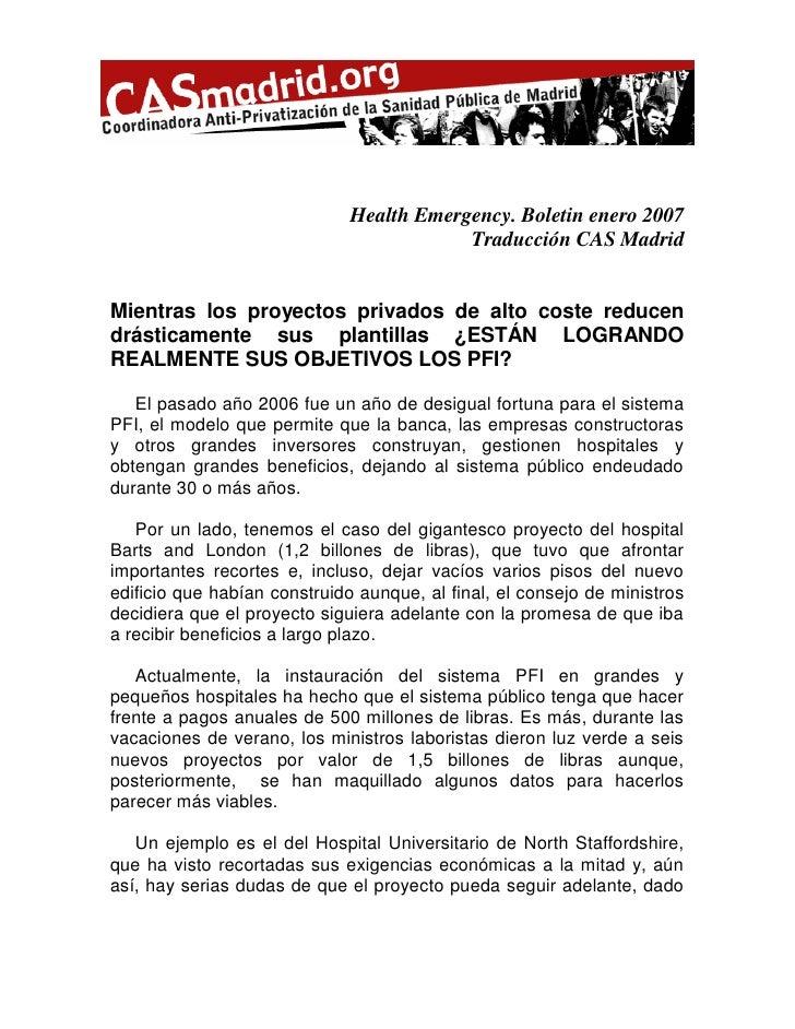 Health Emergency. Boletin enero 2007                                           Traducción CAS Madrid   Mientras los proyec...