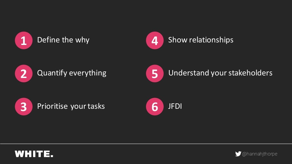 Define the Why, Show Relationships, Quantify Everything, Understand your Stakeholders, Prioritise your tasks, JFDI