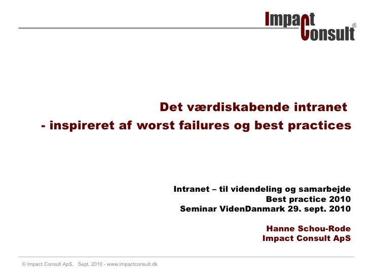 Hanne Schou Rode: Intranet Best Practice 2010
