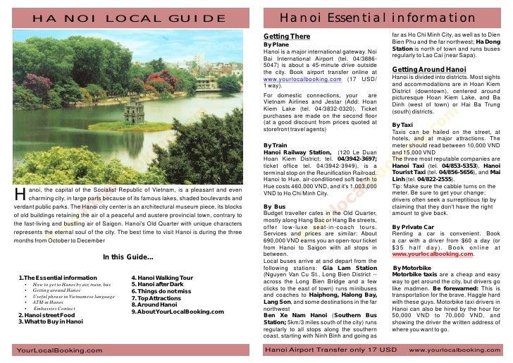 HA NOI LOCAL GUIDE                                                                         Hanoi Essential information    ...