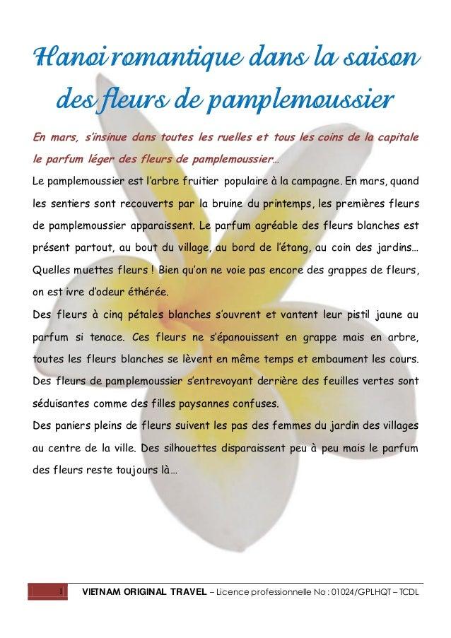 1 VIETNAM ORIGINAL TRAVEL – Licence professionnelle No : 01024/GPLHQT – TCDL Hanoi romantique dans la saison des fleurs de...