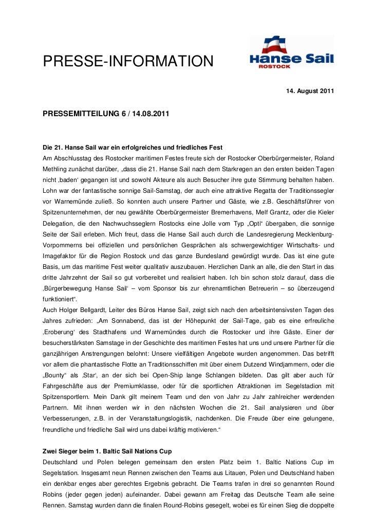 APRESSE-INFORMATION                                                                                      14. August 2011PR...
