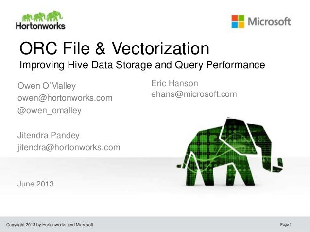 Copyright 2013 by Hortonworks and Microsoft ORC File & Vectorization Improving Hive Data Storage and Query Performance Jun...
