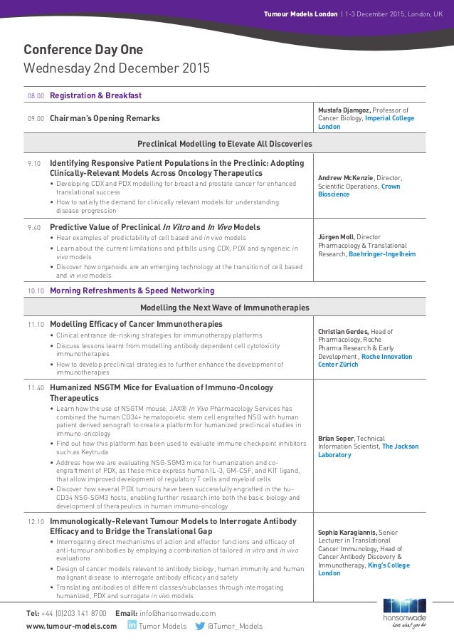 Tel: +44 (0)203 141 8700 Email: info@hansonwade.com www.tumour-models.com Tumor Models           @Tumor_Models Tumour Mode...