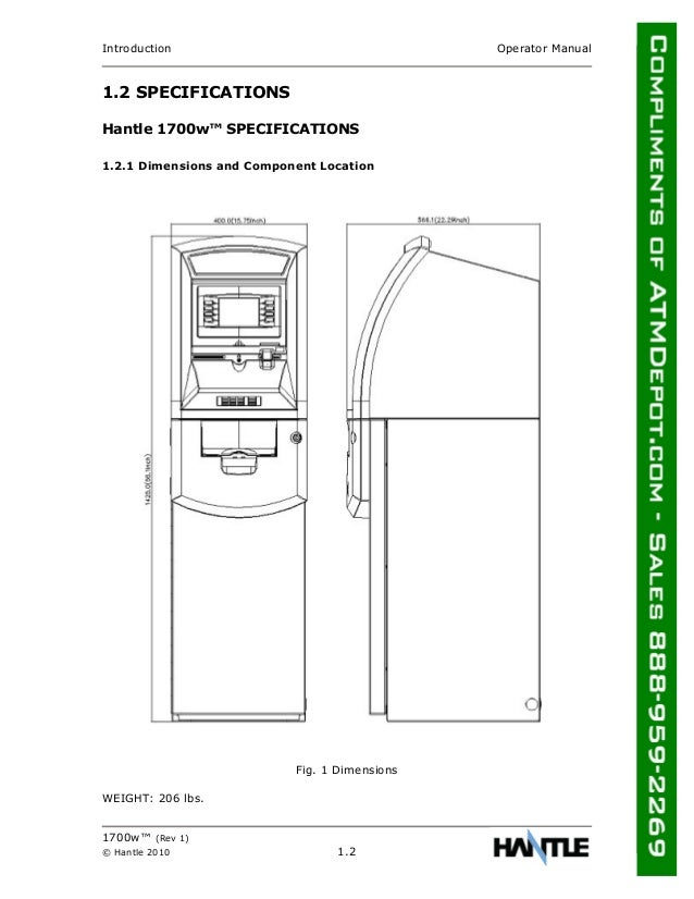 Hantle 1700 W Atm Owners Manual