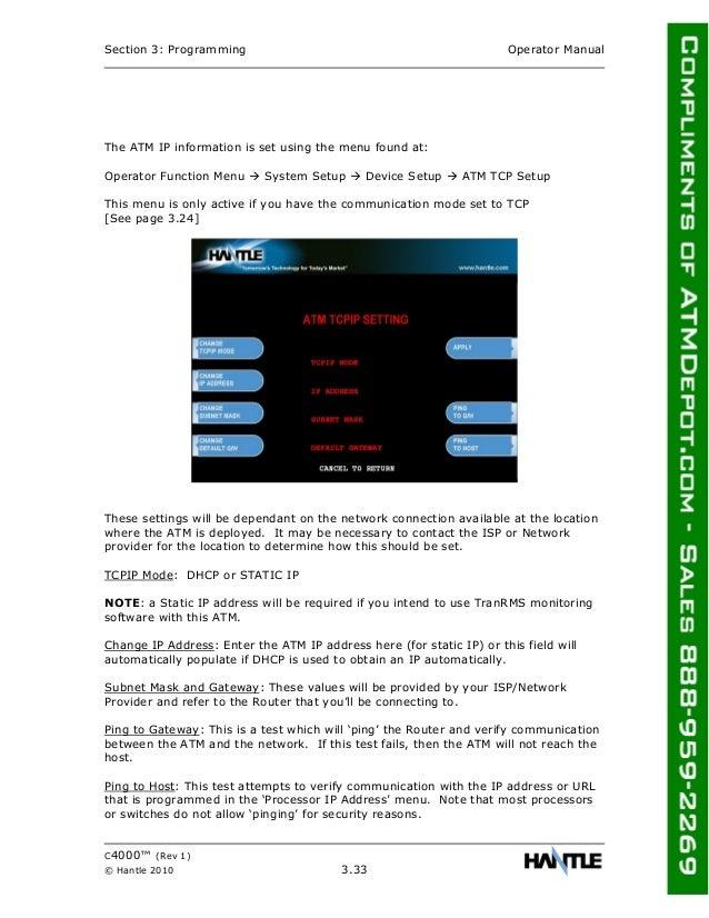 Hantle c4000-atm-owners-manual