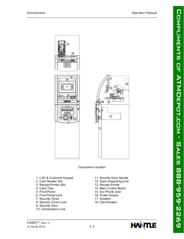 Hantle C4000 Atm Owners Manual