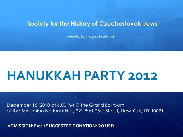 Society for the History of Czechoslovak Jews                                                 cordially invites you to atte...