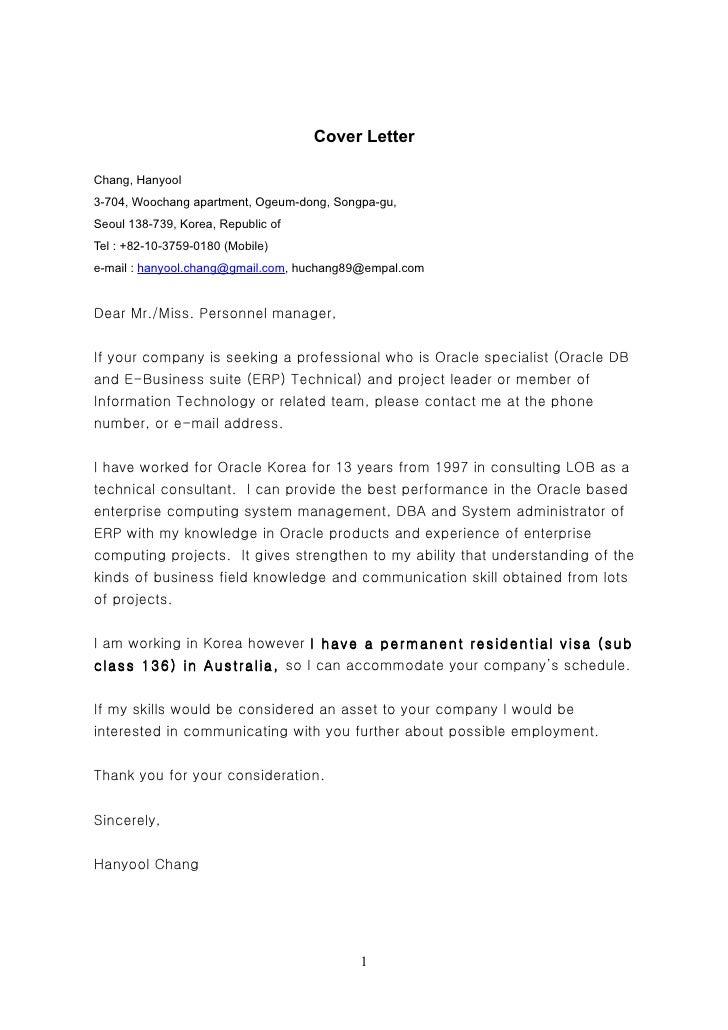 Cover Letter  Chang, Hanyool 3-704, Woochang apartment, Ogeum-dong, Songpa-gu, Seoul 138-739, Korea, Republic of Tel : +82...