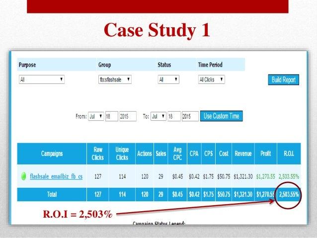 Case Study 1 R.O.I = 2,503%