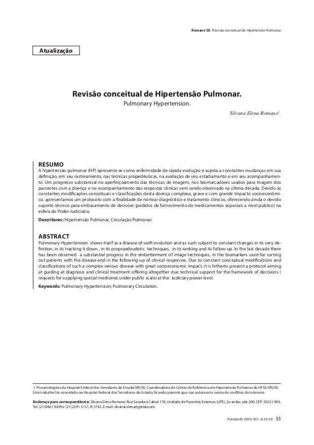 Romano SE . Revisão conceitual de Hipertensão Pulmonar    Atualização                       Revisão conceitual de Hiperten...