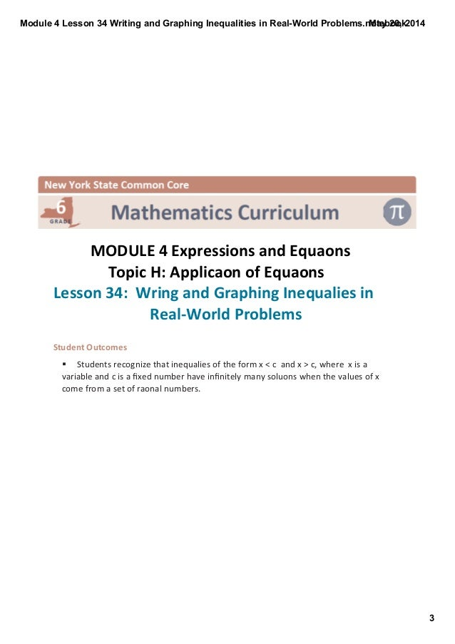 Expressions and Equations – Grade 6 Module 4