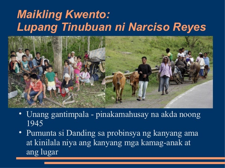 lupang tinubuan by narciso reyes Summary of lupang tinubuan by narciso reyes reye syndrome reye syndrome is an extremely rare, non-contagious disease thought to be triggered by aspirin use.