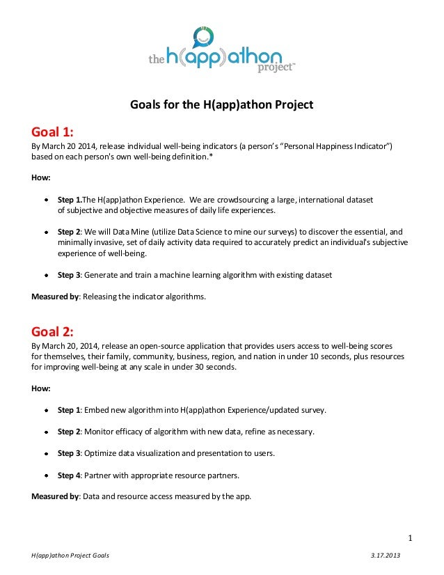 "Goals for the H(app)athon ProjectGoal 1:By March 20 2014, release individual well-being indicators (a person's ""Personal H..."