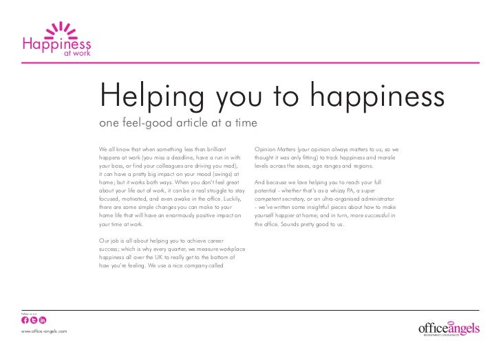 Happiness     at work                        Helping you to happiness                        one feel-good article at a ti...