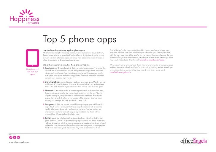 Happiness     at work                                  Top 5 phone apps                                  Lose the boredom ...