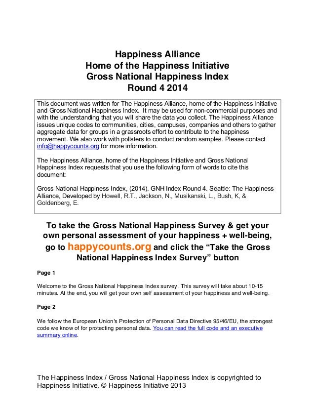 The Happiness Index / Gross National Happiness Index is copyrighted to Happiness Initiative. © Happiness Initiative 2013 H...