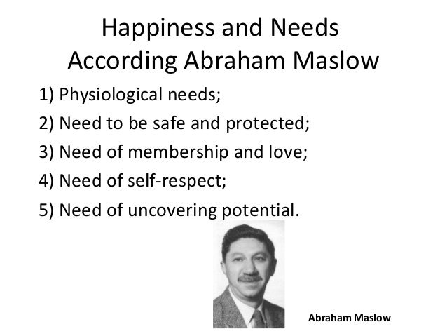 Happiness and Needs According Abraham Maslow 1) Physiological needs; 2) Need to be safe and protected; 3) Need of membersh...