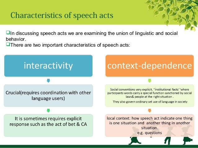 austin's speech act theory and the Speech act theory says that we can analyze any utterance on three levels: the locution, the illocution, and the perlocution see examples of speech acts.