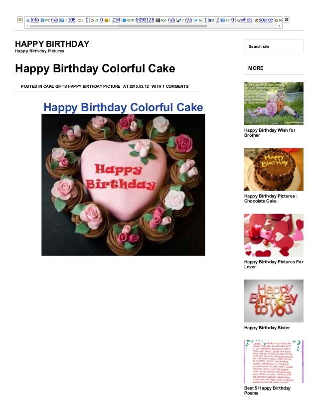 3/25/2015 Happy Birthday Colorful Cake http://happybirthdaypictures.co/happy­birthday­colorful­cake/ 1/11 Info PR: n/a I: ...
