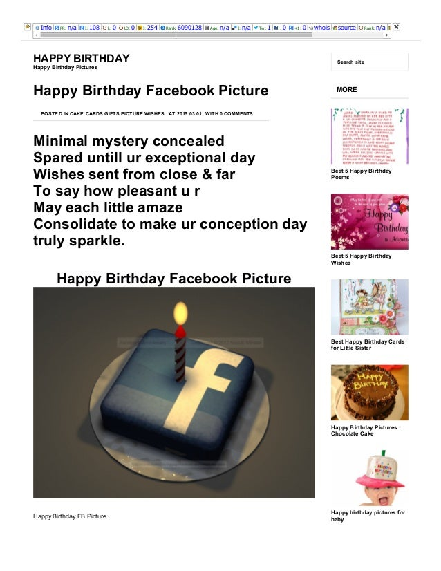 3/25/2015 HappyBirthdayFacebookPictureHappyBirthday http://happybirthdaypictures.co/happybirthdayfacebookpicture...