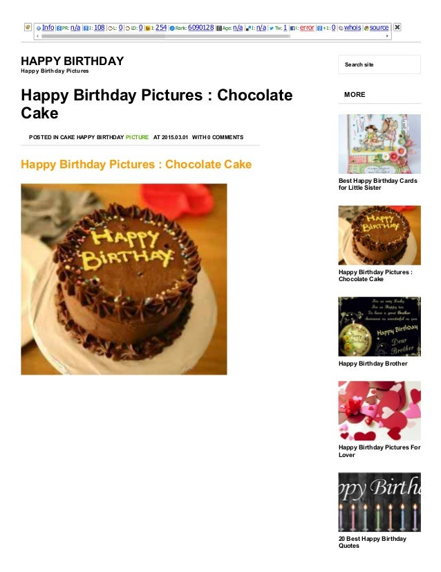 3/25/2015 Happy Birthday Pictures : Chocolate Cake ­ Happy Birthday http://happybirthdaypictures.co/happy­birthday­picture...