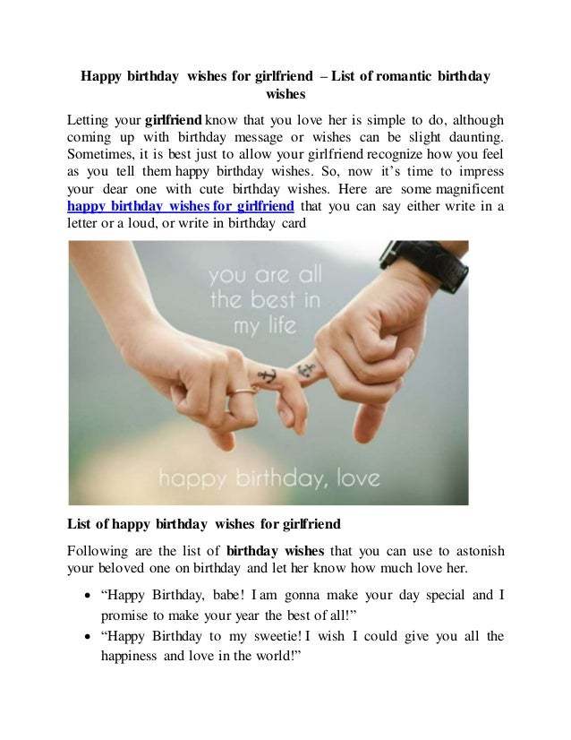 Happy Birthday Wishes For Girlfriend List Of Romantic