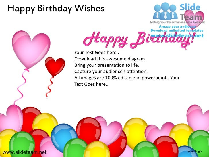 Happy birthday wishes powerpoint ppt slides.