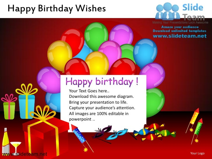 Happy Birthday Wishes Powerpoint Ppt Slides