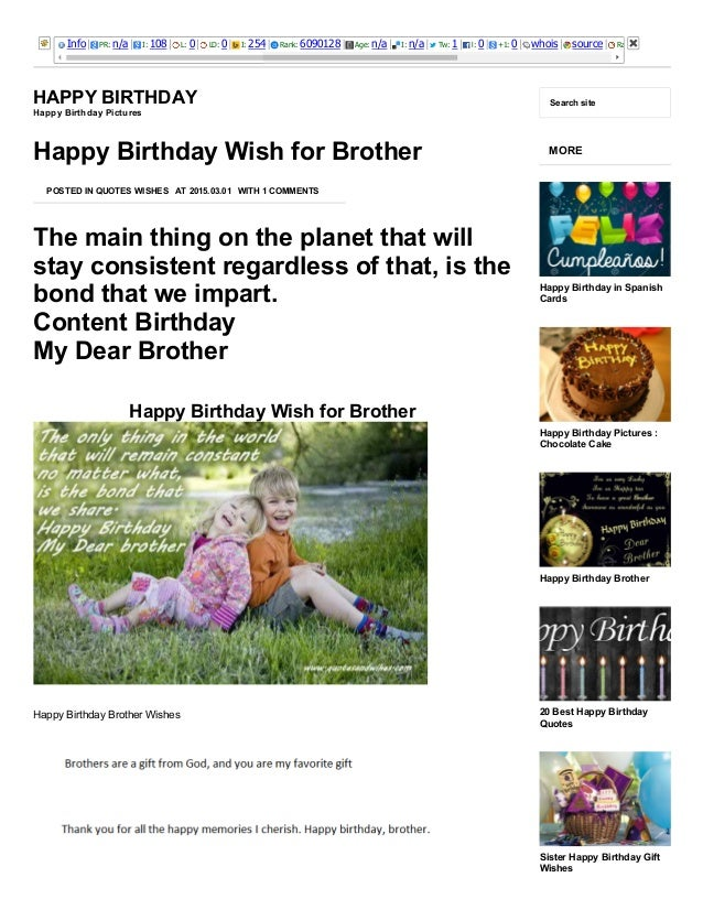 3/25/2015 Happy Birthday Wish for Brother ­ Happy Birthday http://happybirthdaypictures.co/happy­birthday­wish­for­brother...
