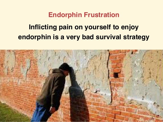 Endorphin Frustration Inflicting pain on yourself to enjoy endorphin is a very bad survival strategy