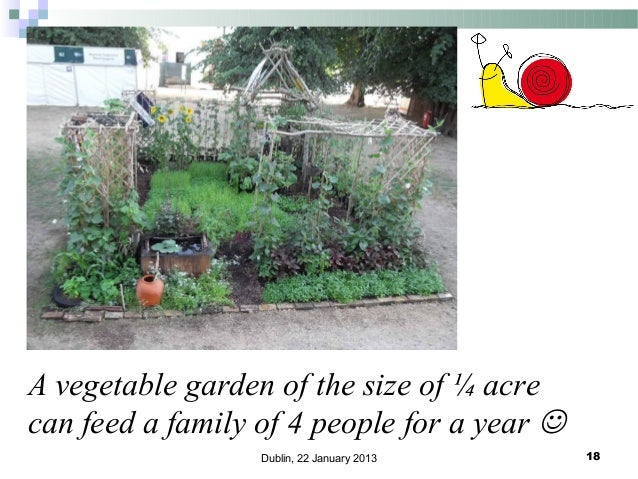 A vegetable garden of the size of ¼ acre can feed a family of 4 people for a year  Dublin, 22 January 2013  18