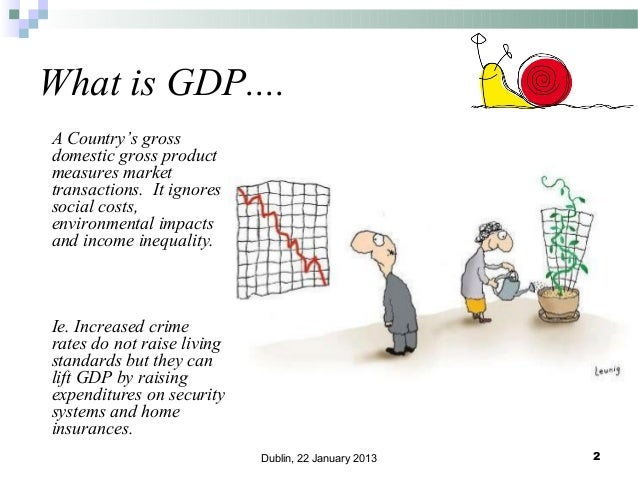 What is GDP.... A Country's gross domestic gross product measures market transactions. It ignores social costs, environmen...