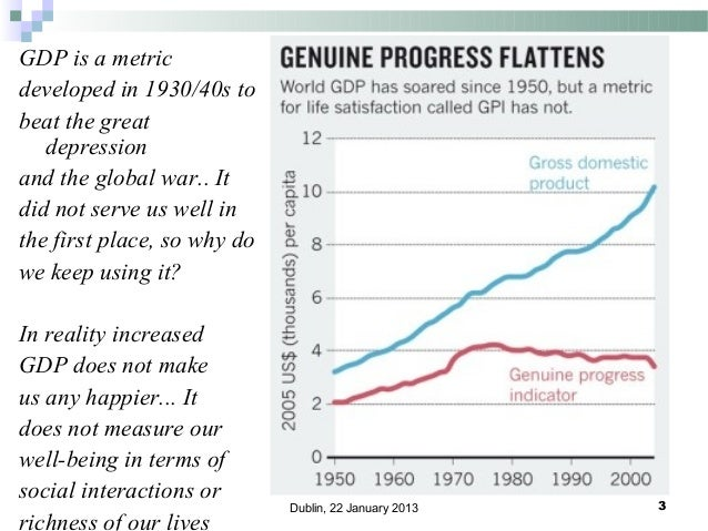 GDP is a metric developed in 1930/40s to beat the great depression and the global war.. It did not serve us well in the fi...