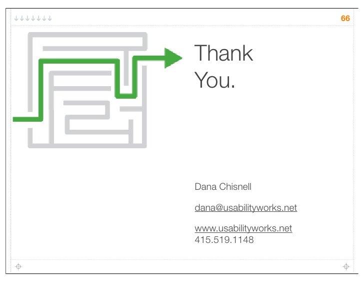 66ThankYou.Dana Chisnelldana@usabilityworks.netwww.usabilityworks.net415.519.1148