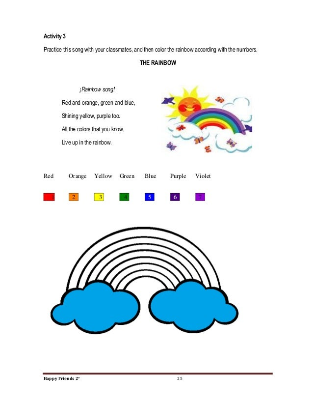 25 activity 3practice this song with your classmates and then color the rainbow - All The Colors Of The Rainbow Song