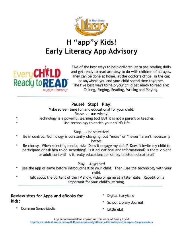 """! ! ! H """"app""""y Kids! Early Literacy App Advisory ! Five of the best ways to help children learn pre-reading skills and get..."""