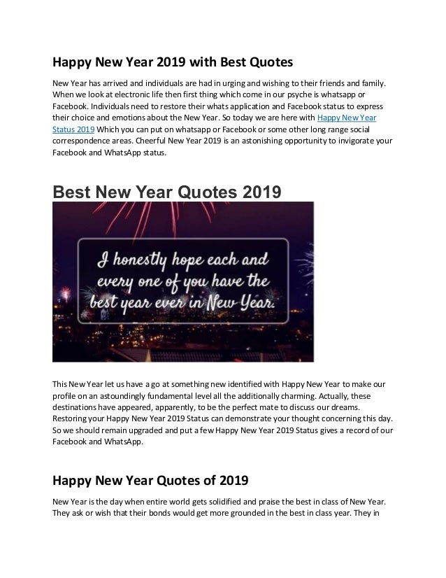 Happy New Year 2019 With Best Quotes