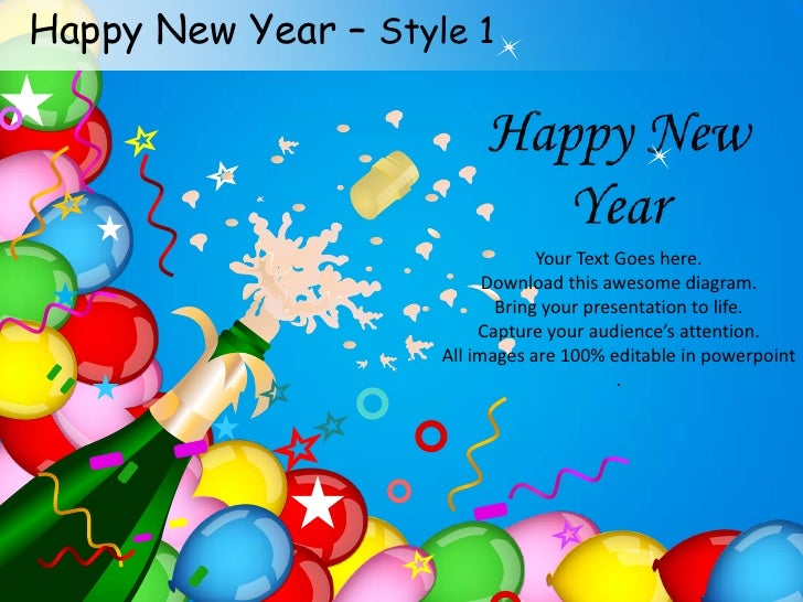 Happy New Year Celebration Style 1 Powerpoint Templates