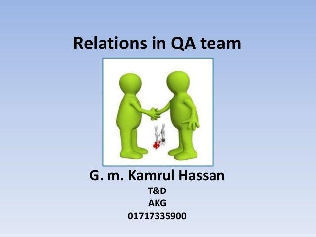 Relations in QA team G. m. Kamrul Hassan          T&D          AKG      01717335900