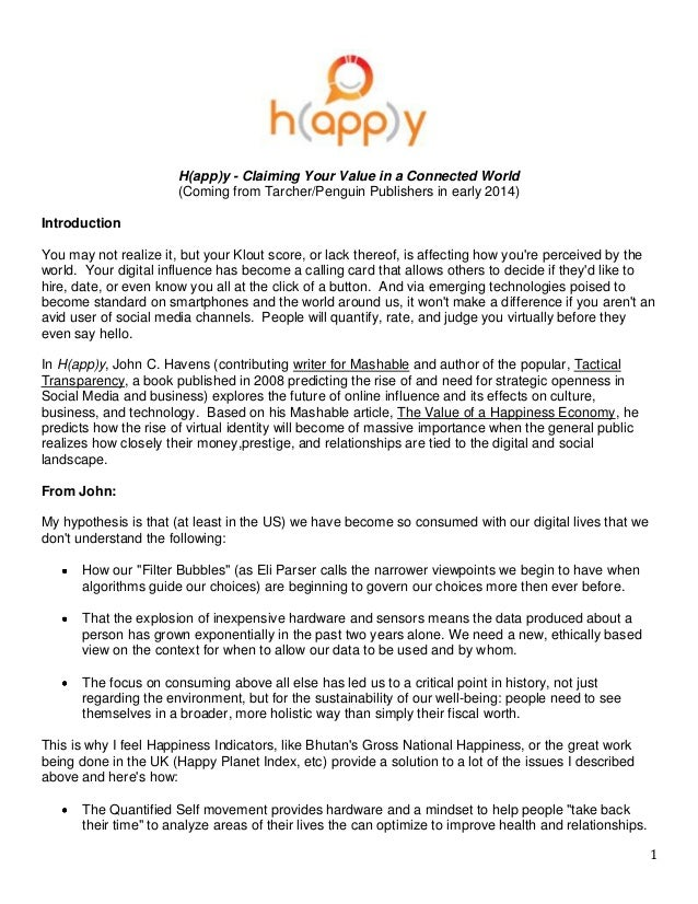 H(app)y - Claiming Your Value in a Connected World                       (Coming from Tarcher/Penguin Publishers in early ...