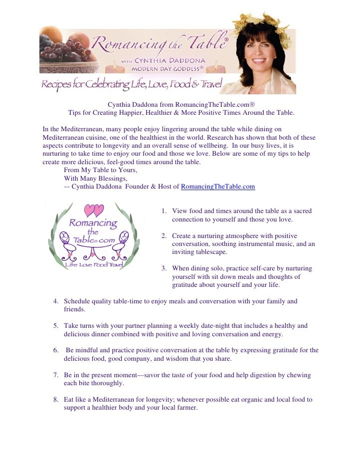 Cynthia Daddona from RomancingTheTable.com          Tips for Creating Happier, Healthier & More Positive Times Around the...